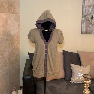 FREE PEOPLE  Khaki Brown SS Hooded Button Up Cardi